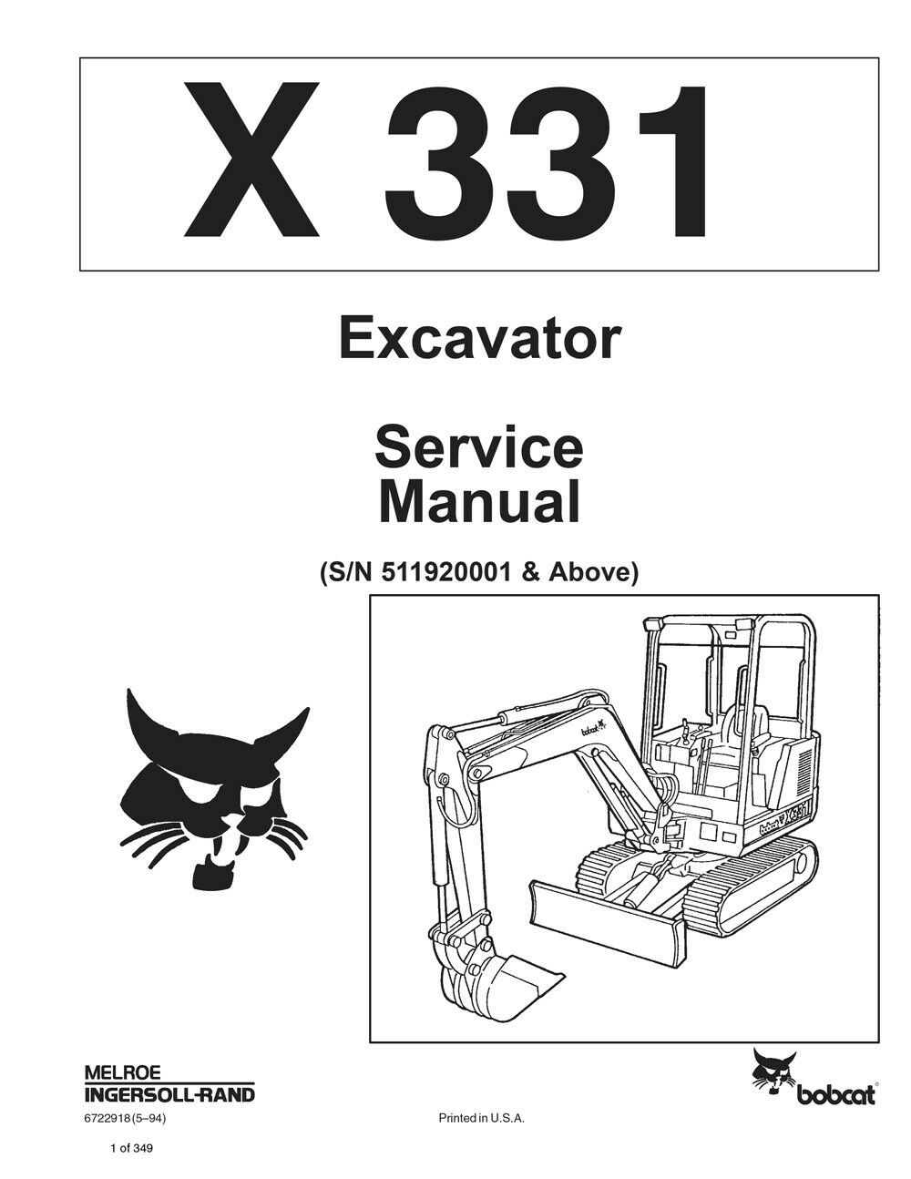 medium resolution of bobcat 331 compact excavator service manual shop repair book 1 part bobcat 331 compact excavator service