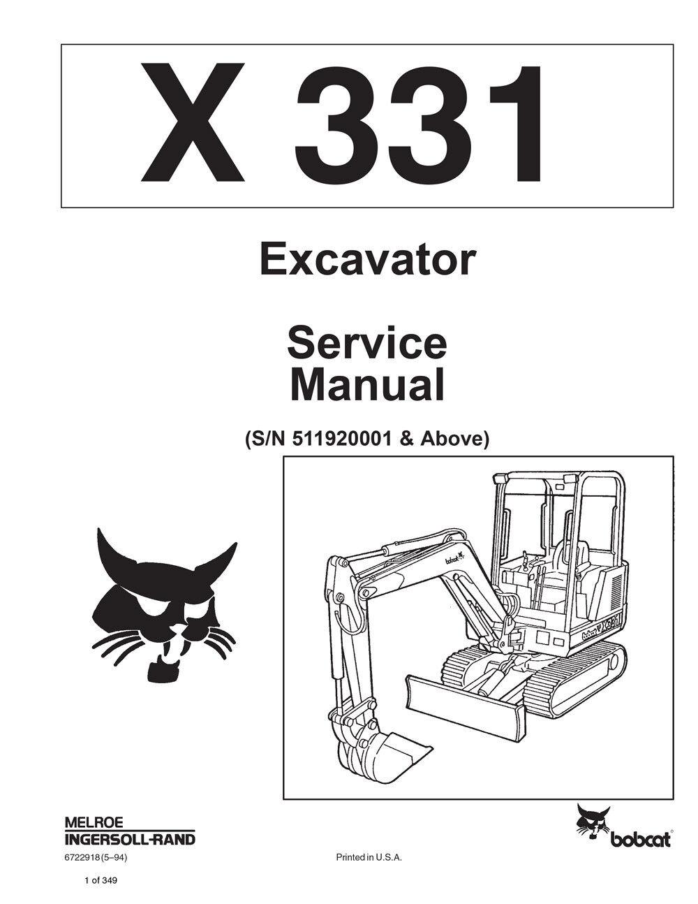 hight resolution of bobcat 331 compact excavator service manual shop repair book 1 part bobcat 331 compact excavator service