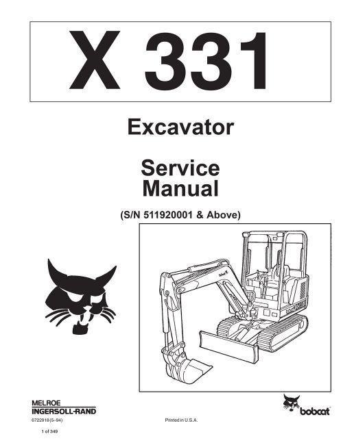 small resolution of bobcat 331 compact excavator service manual shop repair book 1 part bobcat 331 compact excavator service