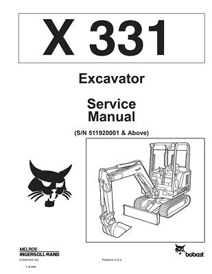 New Bobcat X 331 Excavator 1994 Edition Repair Workshop