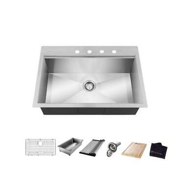 glacier bay 4308f all in one drop in stainless steel 30 in 4 hole single bowl sink