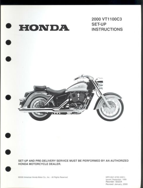 2000 HONDA VT1100C3 MOTORCYCLE SET UP & PRE-DELIVERY