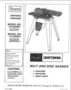 Craftsman 113.225801 113.225831 Belt & Disc Sander