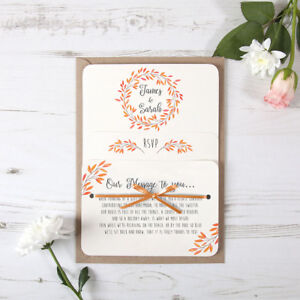 Details About Autumn Orange Rustic Wedding Invitation Satin Ribbon Any Colour Sample