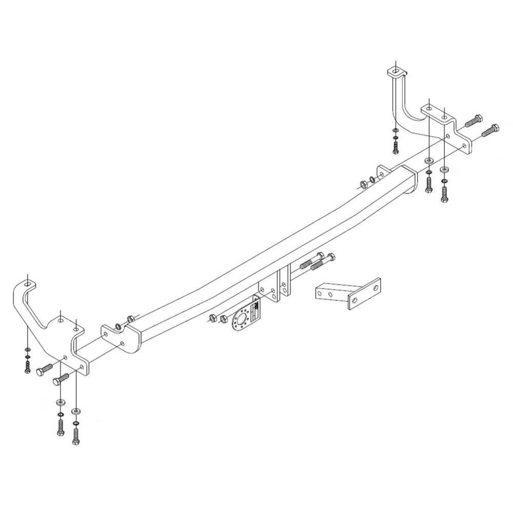 medium resolution of details about towbar for renault kangoo ii van 2013 onwards flange tow bar