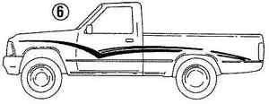 1990 reg cab TOYOTA SILVER STRIPES O.E.M.1989 1991 1992