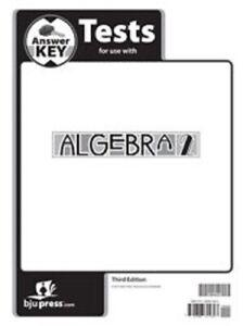 BJU Press- Algebra 2 Test Answer Key 3rd Ed. 286435