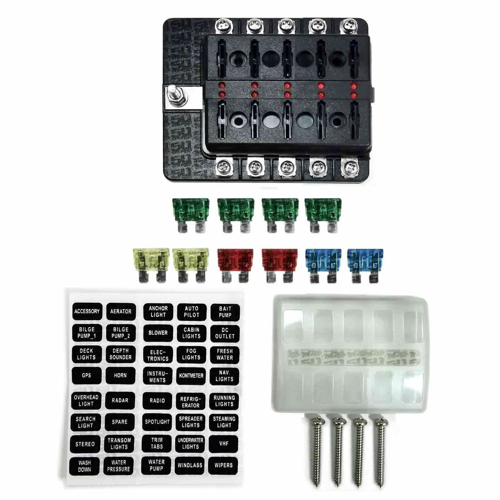 hight resolution of 10 way 12v blade fuse box distribution block with led semi truck rv farm tractor