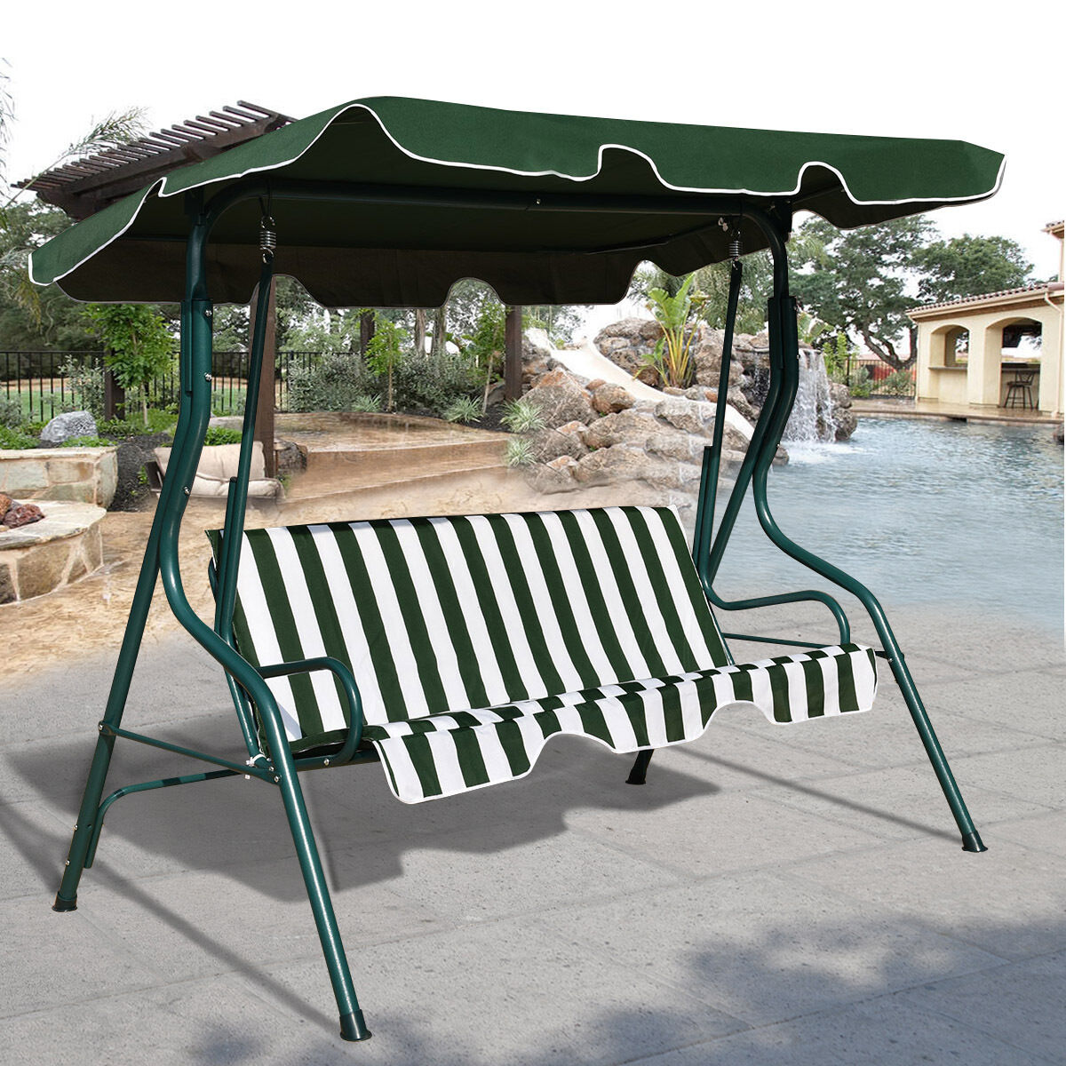 Patio Swing Chair 3 Seater Garden Hammock Swing Seat Outdoor Bench Chair