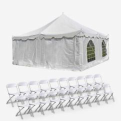 Folding Chair Enclosure Ivory Wingback Party Wedding Canopy Package 20x20 Enclosed Pole Tent With 20 Details About Chairs