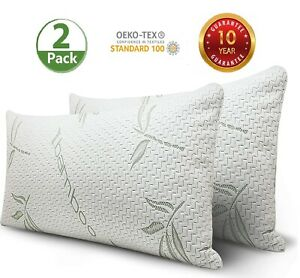details about cool bamboo pillow 2 pack adjustable shredded memory foam pillow king or queen