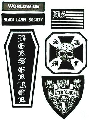 Black Label Patch : black, label, patch, BLACK, LABEL, SOCIETY, BERSERKER, CROSS, Iron-on, PATCH, (front)