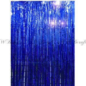details about blue metallic foil fringe tinsel curtain wedding backdrop xmas party