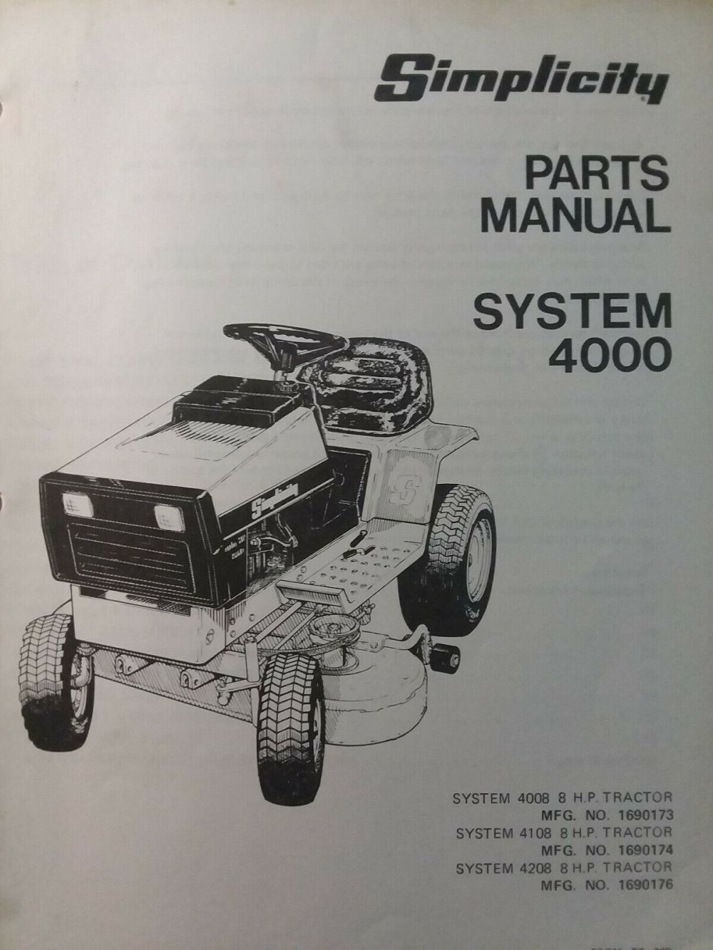 medium resolution of simplicity 4008 4208 4108 lawn tractor mow parts manual 1690173 1690174 1690176 for sale online