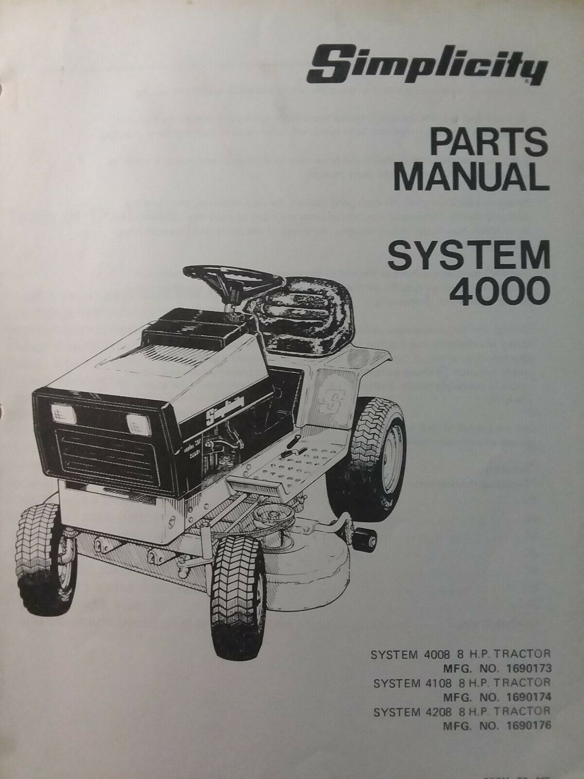 hight resolution of simplicity 4008 4208 4108 lawn tractor mow parts manual 1690173 1690174 1690176 for sale online