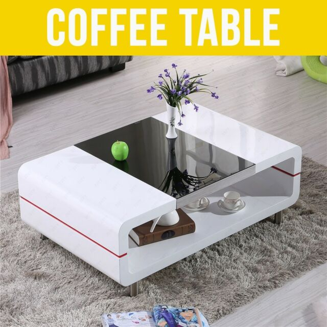 black glass living room furniture images of rooms modren high gloss top white coffee table modern with tempered
