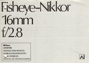 Instruction User's Manual Nikon Fisheye-Nikkor 16mm f/2.8