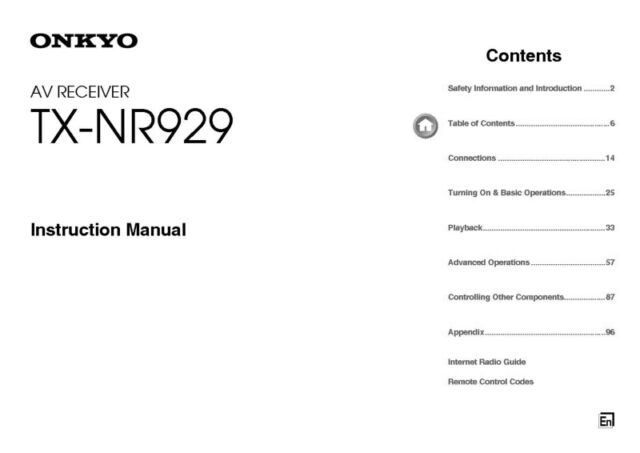 Onkyo Integra TX-NR929 Receiver Owners Instruction Manual