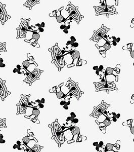 DISNEY MICKEY MOUSE STEAMBOAT WILLIE PRINT 100% COTTON