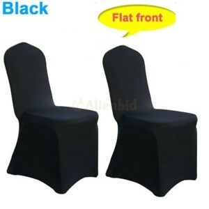 fitted chair covers ebay modern gray dining chairs 200 pcs universal black polyester spandex arched party image is loading