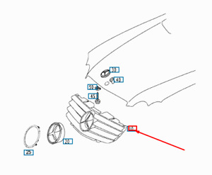NEW MERCEDES-BENZ SL R230 AMG RADIATOR GRILLE TRIM
