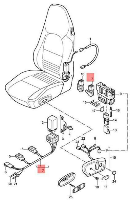 Genuine PORSCHE 911 Boxster Carrera Wiring Light For Seat