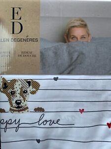 details about ed ellen degeneres puppy love shower curtain dog lover 72x72 washable new