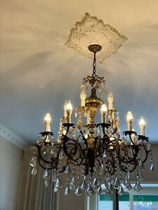 Cerca vetro lampadario di cristallo gocce che siano forti e durevoli da molti buoni fornitori. Lampadario Cristallo In Ottone E Gocce Di Cristallo Di Boemia Anni 40 Spediz Ebay