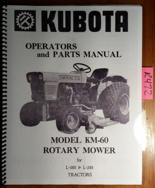 small resolution of kubota km 60 rotary mower for l 185 l 245 tractor owner operator parts manual