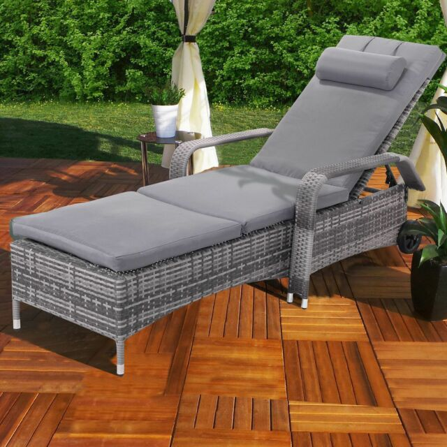 wicker chaise lounge chairs outdoor all steel tangkula chair patio porch recliner adjustable