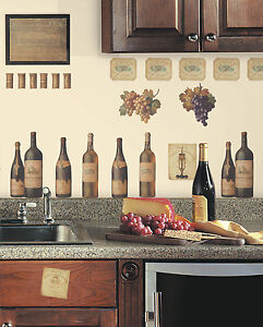WINE TASTING WALL DECALS Grapes & Bottles NEW Stickers Kitchen Decor