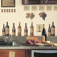 Grapes And Wine Kitchen Decor Decoration Tasting Wall Decals Bottles New Stickers Image Is Loading Amp