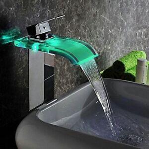 details sur design robinet mitigeur led rgb cascade pour lavabo salle de bain