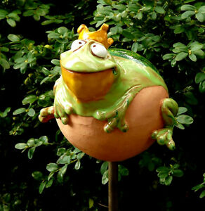 das bild wird geladen gartenstecker gartenkugel beetstecker frosch keramik gartendeko wahl