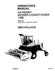 NEW HOLLAND 1496 Haybine Mower Conditioner OPERATORS
