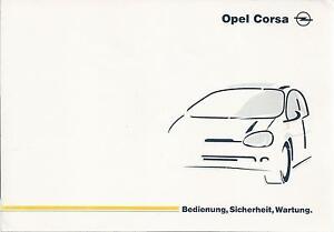 OPEL CORSA B Betriebsanleitung 1997 Bedienungsanleitung