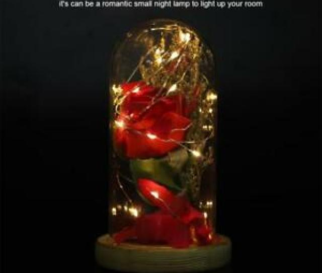 Image Is Loading Beauty And The Beast Enchanted Rose Glass Dome