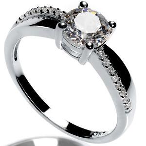 Verlobungsring 925 Silber 14 KaratSilber Ring mit SWAROVSKI ZIRKONIAm Gravur