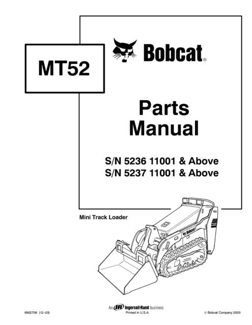 Bobcat Mt52 Mini Track Loader Parts Manual Shop Book 1