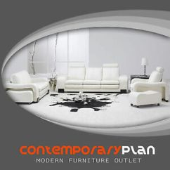 Contemporary White Leather Living Room Chairs Set Modern Sofa Couch Image Is Loading