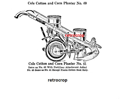 Cole Combination Corn Planter Cotton Drill Owner's Manual