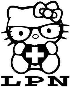HELLO KITTY LPN Vinyl Decal Window Sticker for LICENSED
