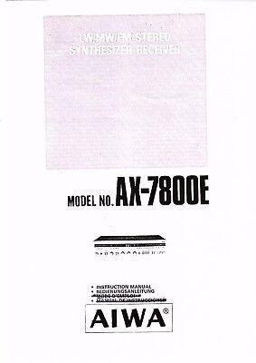 AIWA Instruction User Manual Owners Manual for AX-7800 E