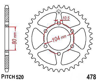 Hendler Rear Sprocket 43 Teeth (478.43) Kawasaki ZX-9R 900