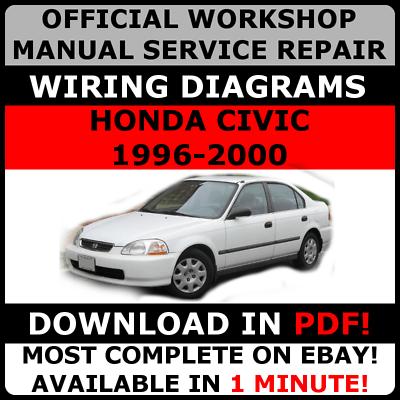 official workshop service repair manual honda civic 19962000 wiring  diagram  ebay