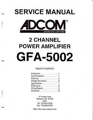 Original Adcom GFA-5002 Power Amp Service Manual w Board
