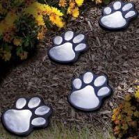 Solar Light Garden Path Paw Print Dog LED Outdoor Figurine ...