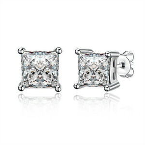 1/2 Ct Princess Stud Earrings 14K White Gold Plated with