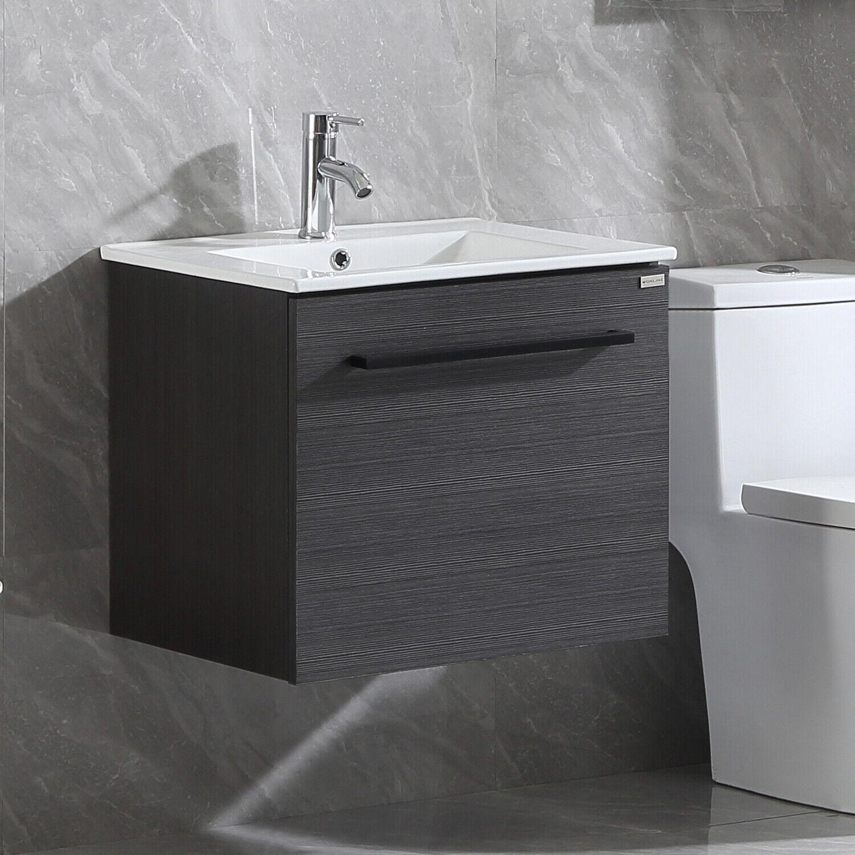 24 Inch Bathroom Vanity Cabinet Mounted Sink Indoor Black Faucet Stable Ebay
