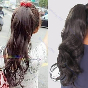 women long wavy curly ponytail clip scrunchie hair extension pony wigs 3 colors ebay